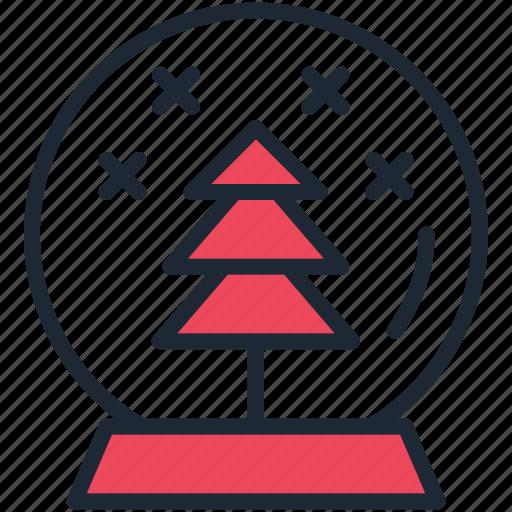 ball, christmas, crystal, gift, present, snow, tree icon