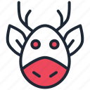 animal, christmas, deer, new year, rein, rudolph, santa icon