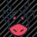 animal, christmas, deer, new year, rein, rudolph, santa claus icon