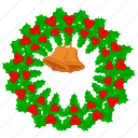 bell, breath, christmas, decoration, wreath icon