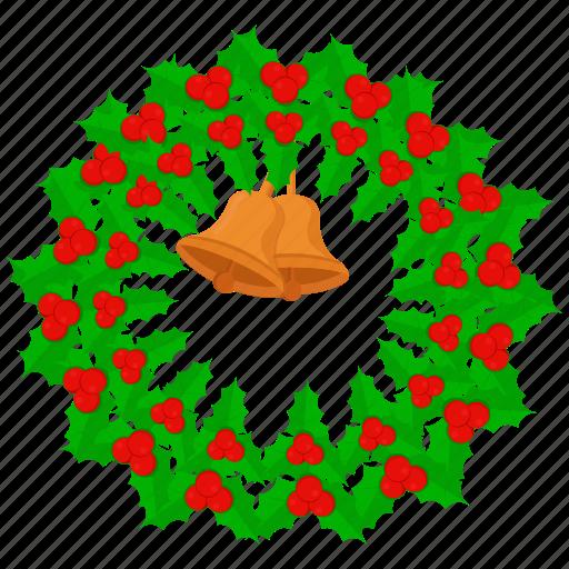 bell, breath, christmas, decoration, wreath icon