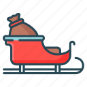christmas, gift, santa, santa claus, sled icon