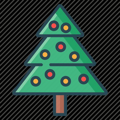 christmas, christmas tree, decorative, lamp, party, tree icon