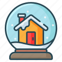 ball, christmas, globe, house, snow, winter icon