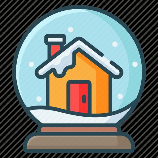 ball, christmas, globe, house, snow, winter icon