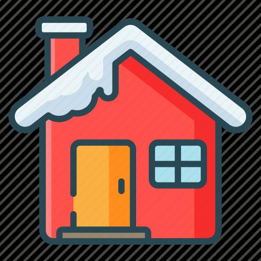 christmas, home, house, snow, winter icon