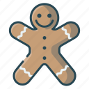 christmas, gingerbread, gingerman, man, smile icon