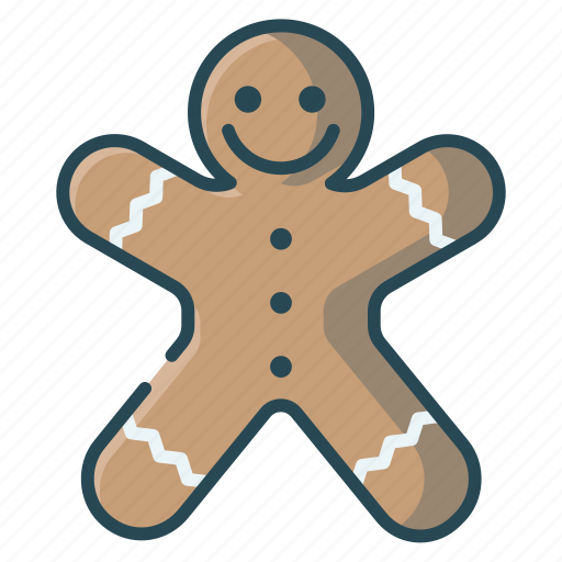 christmas, gingerbread, gingerman, man, smile icon