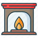 christmas, fire, fireplace, heater, heeter icon