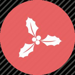 celebrations, christmas, christmas leaf, decorations icon