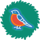 bird, christmas, wreath, xmas icon
