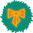 bow, christmas, wreath, xmas icon