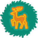 wreath, deer, christmas, xmas icon