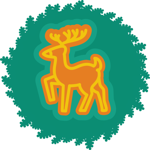 christmas, deer, wreath, xmas icon