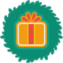christmas, gift, wreath, xmas icon