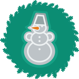 christmas, snowman, wreath, xmas icon