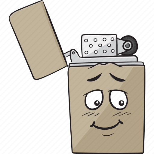 cartoon, cigarette, emoji, lighter, smiley icon