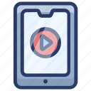 mobile video, online video, tutorial, video app, video player, video streaming icon