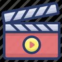 cinematography, clapper, clapperboard, clapstick, movie clapperboard, slate board, sync slate icon