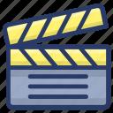cinematography, clapper, clapperboard, clapstick, slate board, sync slate icon