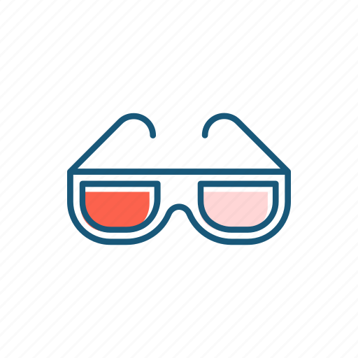 cinema, dimensial, glasses, line, thin, three icon