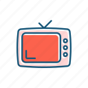 cinema, line, retro, show, thin, tv icon