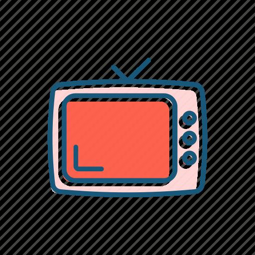 cinema, line, retro, show, thin, tv icon