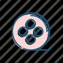 cinema, film, line, thin icon