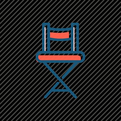 chair, cinema, line, producer, thin icon