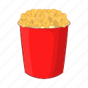 cartoon, crispy, eat, food, illustration, popcorn, sign icon
