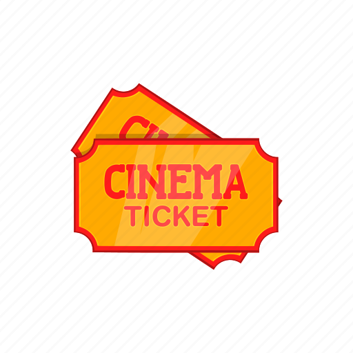cartoon, cinema, entertainment, film, movie, sign, ticket icon