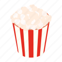 cinema, corn, crunch, fun, isometric, movie, popcorn icon