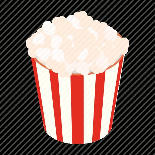 cinema, corn, crunch, fun, isometric, movie, popcorn icon