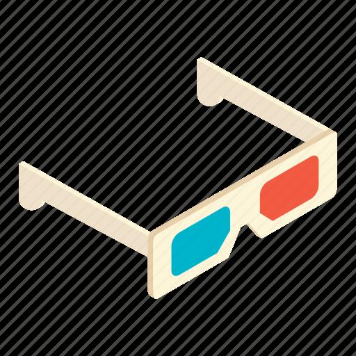 cinema, eye, film, glasses, illusion, isometric, vision icon