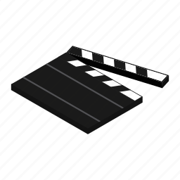 board, clap, clapper, film, isometric, shoot, theater icon