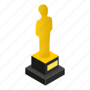 golden, isometric, gold, celebrity, award, statue, male