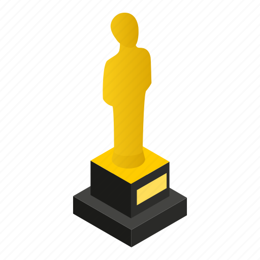 award, celebrity, gold, golden, isometric, male, statue icon