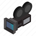 isometric, cinema, movie, lens, camera, reel, film