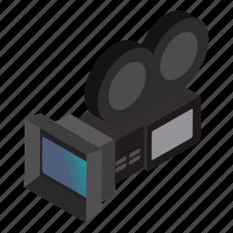camera, cinema, film, isometric, lens, movie, reel icon