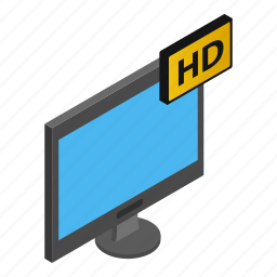 display, isometric, monitor, screen, television, tv, white icon