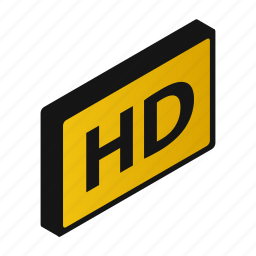 definition, display, high, isometric, speech, tv, widescreen icon