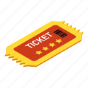 attendance, collection, isometric, isometry, paper, template, ticket icon