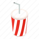 carbonated, isometric, cup, cap, beverage, blank, white