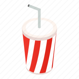 beverage, blank, cap, carbonated, cup, isometric, white icon