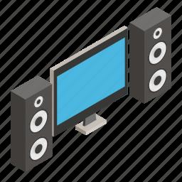 isometric, living, loudspeakers, modern, movie, theater, tv icon