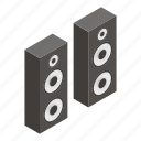 box, isometric, sound, speaker, stereo, white, woofer icon