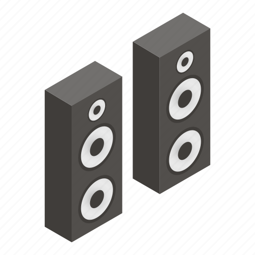 Box, sound, isometric, stereo, speaker, white, woofer icon