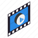 border, film, filmstrip, frame, isometric, photo, strip icon
