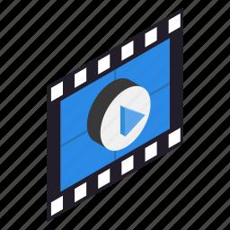 border, film, filmstrip, frame, isometric, photo, strip icon