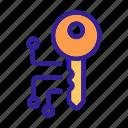 access, cipher, circuit, close, key icon